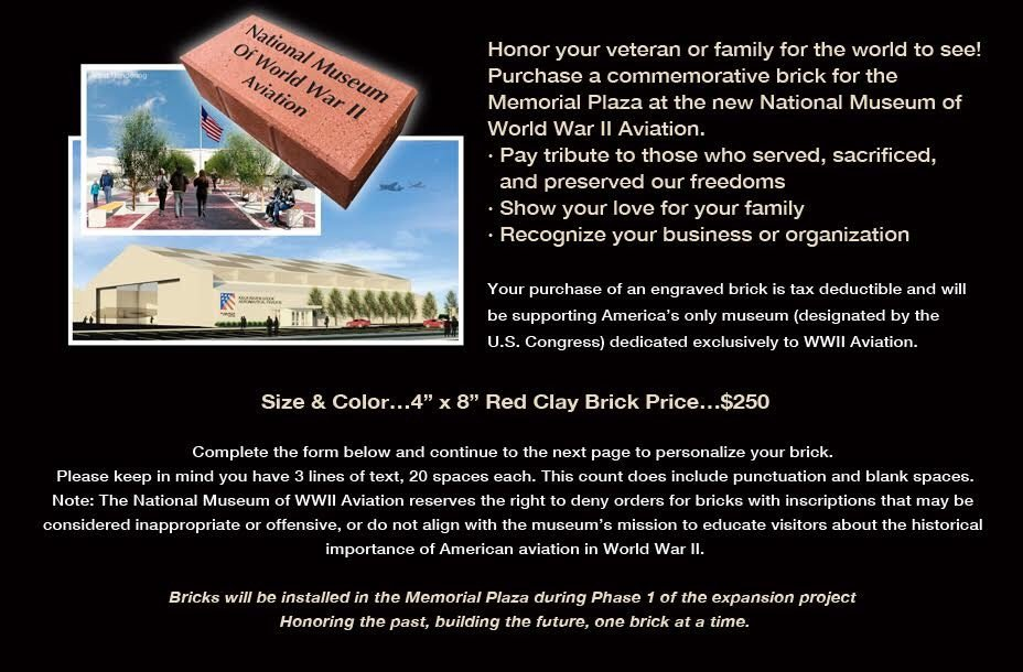 Welcome to National Museum of WWII Aviation Brick Order Form