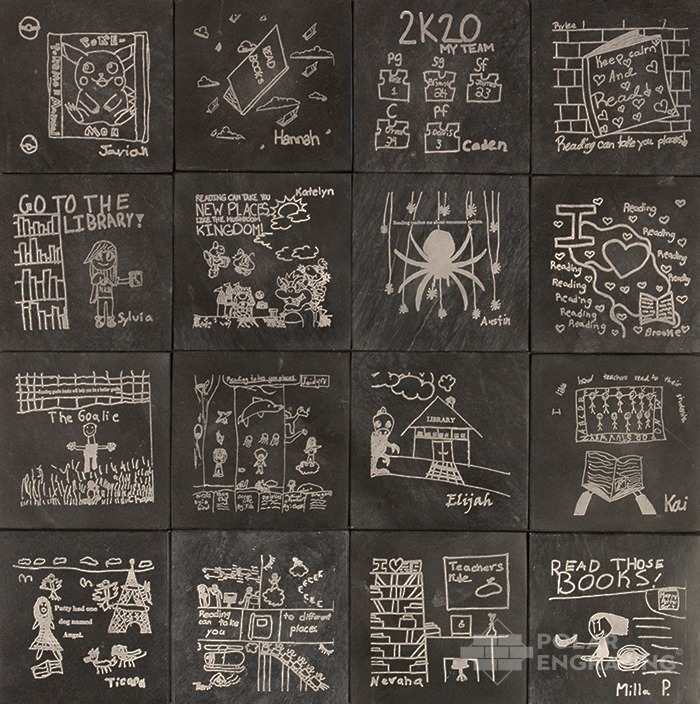 Engraved Tile Black Sugar With Children art
