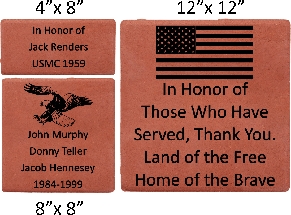 memorial brick array example with logo, phrase, and sizings