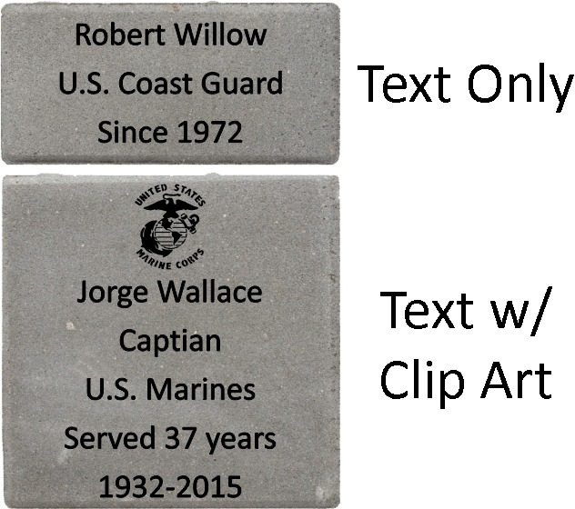 memorial brick array example with logo, inscriptions, and sizings