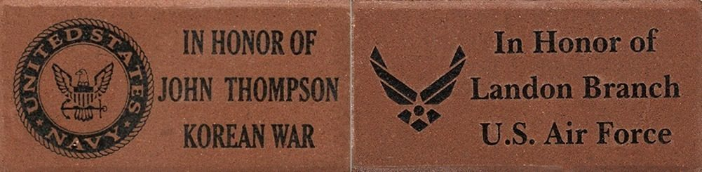 Memorial brick with in honor of inscription, symbol and name