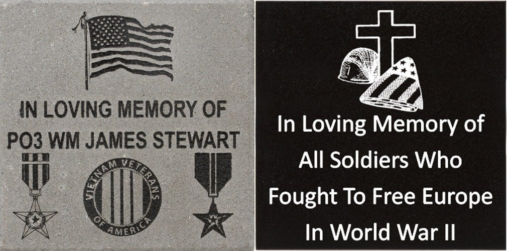 Memorial brick with in loving memory inscription and flag