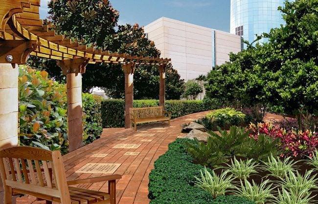 garden with a bricks memorial walkway