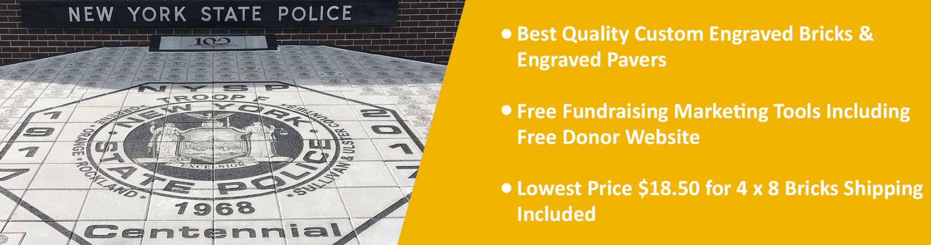 Best Quality Custom Engraved Bricks & Engraved Pavers Free Fundraising Marketing Tools Including Free Donor Website Lowest Price $18.50 for 4 x 8 Bricks Shipping Included