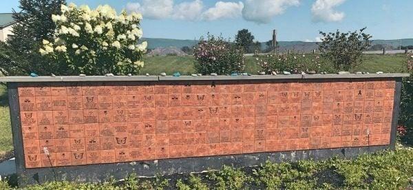 Engraved Tiles Wall in Garden